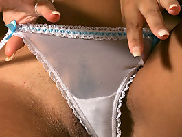 A big boob hottie masturbating with her sheer panties