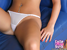 Hot blonde in sexy lingerie and white thongpanties